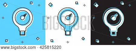 Set Gauge Scale Icon Isolated On Blue And White, Black Background. Satisfaction, Temperature, Manome
