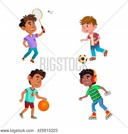 Kids Boys Play Sport Game On Playground Set Vector. Children Playing Football And Basketball With Ga