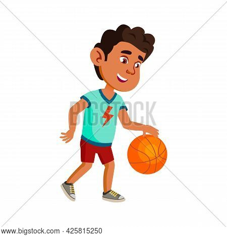 Boy Child Playing Basketball On Playground Vector. Happy Hispanic Kid Athlete Play Basketball Game W