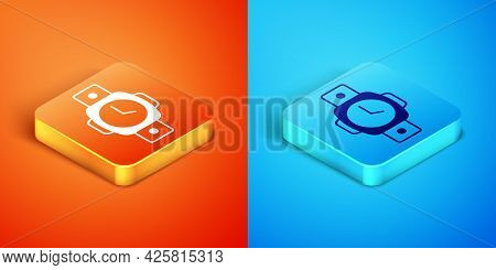 Isometric Diving Watch Icon Isolated On Orange And Blue Background. Diving Underwater Equipment. Vec