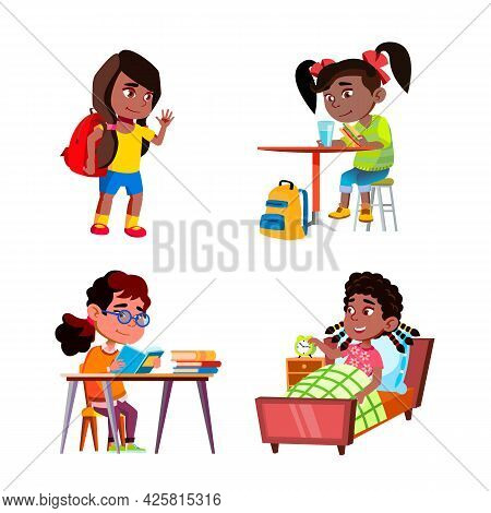 Kids Girls Daily Routine Activities Set Vector. Children Ladies Going To School And Doing Home Exerc