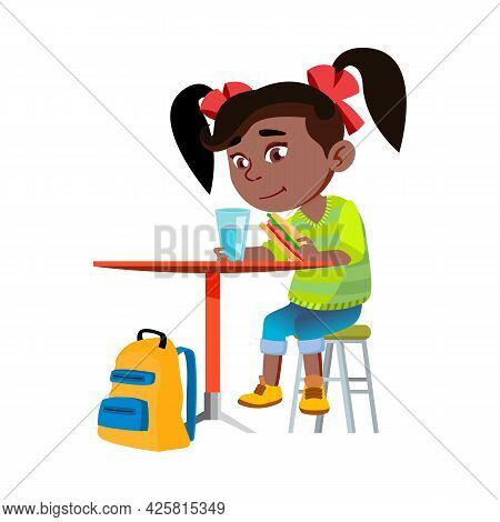 Girl Child Eating Breakfast In Kitchen Vector. African Lady Kid Eating Sandwich And Drinking Water A
