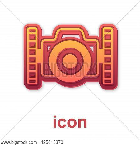 Gold Photo Camera For Diver Icon Isolated On White Background. Foto Camera Icon. Diving Underwater E