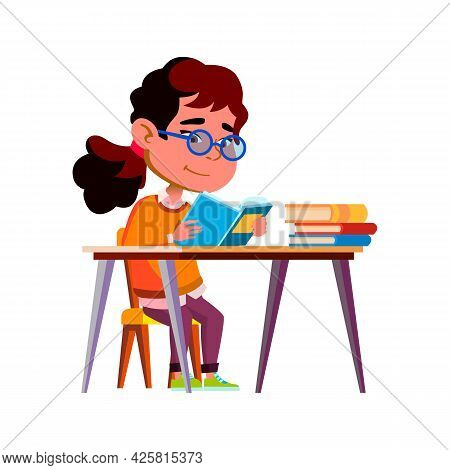 Girl Child Reading Education Book At Table Vector. Asian Little Lady Kid Read Educational Book At De
