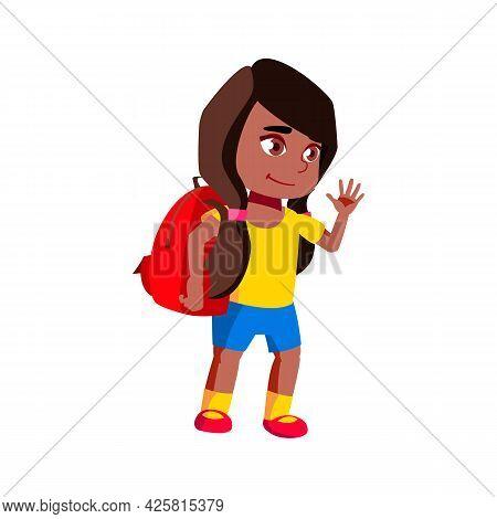 Girl Kid Going To School With Schoolbag Vector. Little African Schoolgirl Waving Hand And Go To Scho