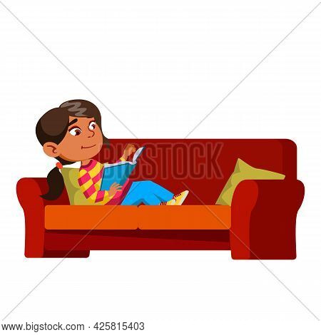 Girl Kid Laying On Couch And Reading Book Vector. Hispanic Preteen Lady Child Lay On Sofa And Read E