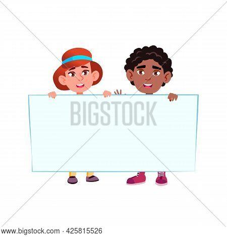 Boy And Girls Kids Holding Blank Banner Vector. Preteen Children African Schoolboy And Caucasian Sch