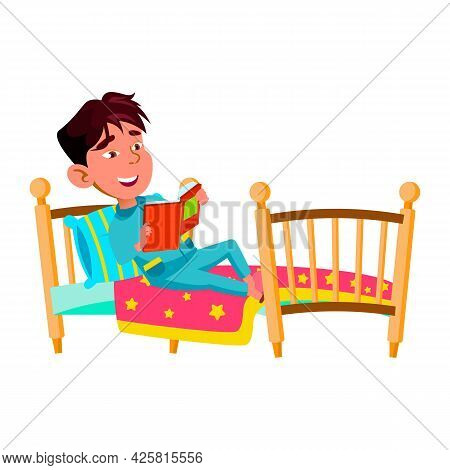 Boy Child Laying In Bed And Reading Book Vector. Chinese Preteen Kid Read Interesting Story Book In
