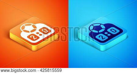 Isometric Sport Mechanical Scoreboard And Result Display Icon Isolated On Orange And Blue Background