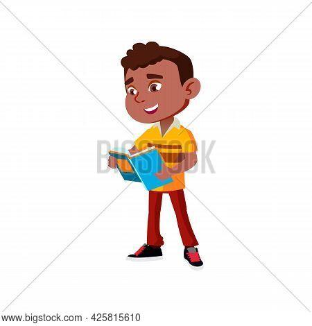 Pupil Boy Reading Book In School Corridor Vector. Happy African Schoolboy Standing And Read Educatio