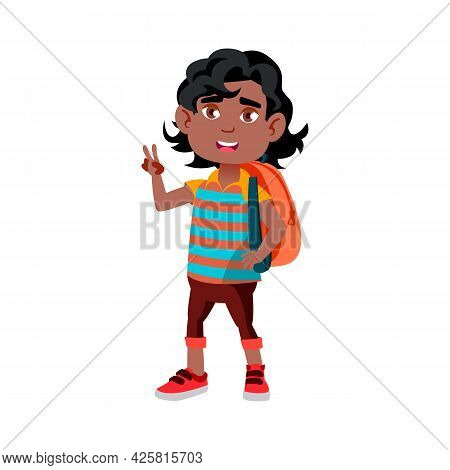 Boy Child Going To School With Backpack Vector. Indian Schoolboy With Rucksack Go To Elementary Scho
