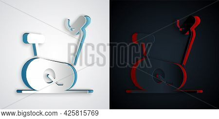 Paper Cut Stationary Bicycle Icon Isolated On Grey And Black Background. Exercise Bike. Paper Art St