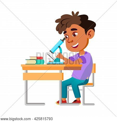 Boy Kid Scientist Research With Microscope Vector. Happy Hispanic Preteen Child Looking Through Micr