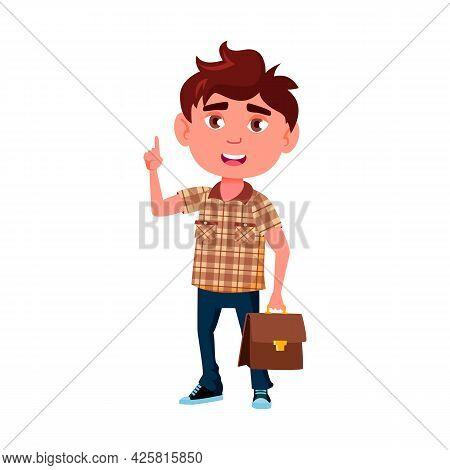 Boy Scientist Has Idea For Resolve Problem Vector. Smiling Happy Caucasian Schoolboy Scientist With