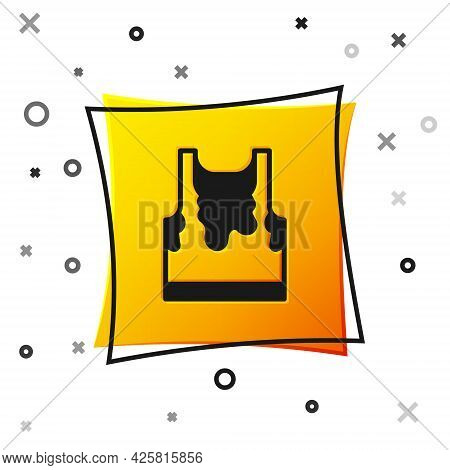 Black Sweaty Sleeveless Sport T-shirt Icon Isolated On White Background. Yellow Square Button. Vecto