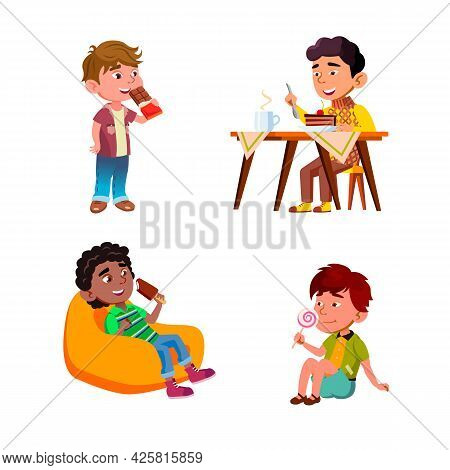 Boys Children Eating Delicious Sweets Set Vector. Kids Eat Delicious Chocolate And Lollipop, Ice Cre