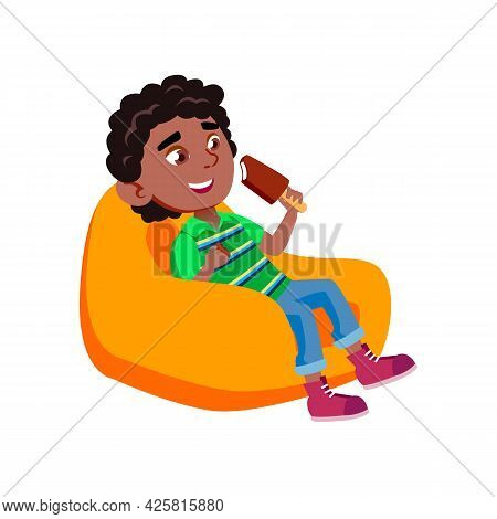 Boy Kid Eating Ice Cream In Soft Chair Vector. Happy African Preteen Child Sitting In Armchair And E