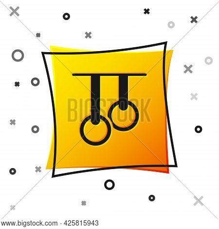 Black Gymnastic Rings Icon Isolated On White Background. Playground Equipment With Hanging Rope With