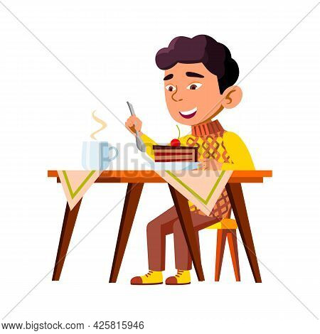 Boy Kid Eating Delicious Cake Breakfast Vector. Happy Chinese Infant Eat Sweet Cake Piece Dessert An