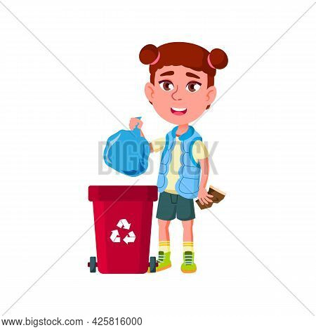 Girl Kid Throwing Rubbish Bag In Trash Can Vector. Happiness Caucasian Lady Child Trow Recycling Rub