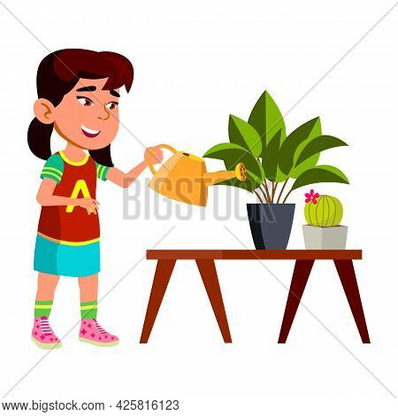 Girl Child Watering Domestic Plant In Pot Vector. Happiness Asian Preteen Lady Care Potted Domestic