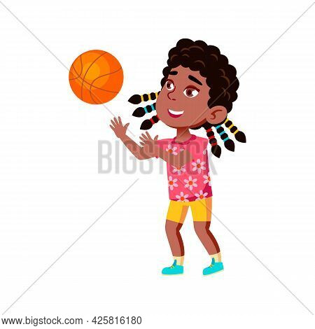 Girl Child Playing Basketball Sport Game Vector. African Happy Sportsgirl Lady Kid Play With Basketb