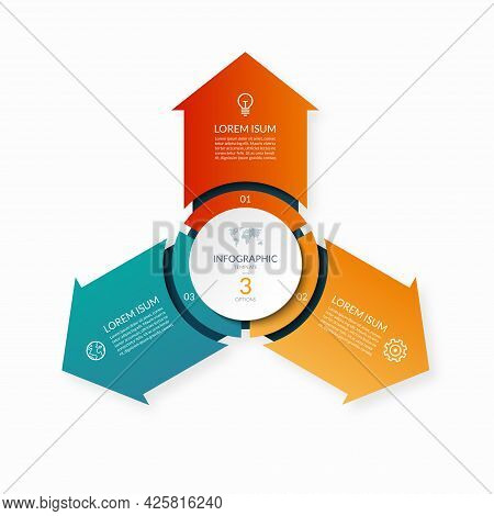 Modern Business Infographic Circle With 3 Arrows Pointing From The Center . 3-step Vector Template F