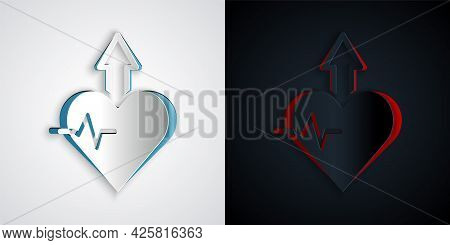 Paper Cut Heartbeat Increase Icon Isolated On Grey And Black Background. Increased Heart Rate. Paper