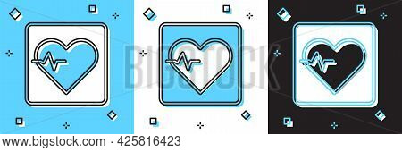 Set Heart Rate Icon Isolated On Blue And White, Black Background. Heartbeat Sign. Heart Pulse Icon.