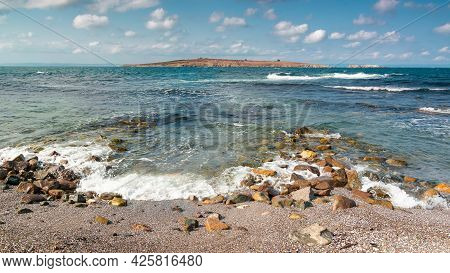 Seascape Of Sozopol, Bulgaria. Wonderful Scenery With St. Ivan And St. Peter Islands In Evening Ligh