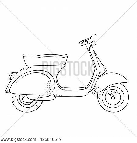 Vehicle. Scooter For Delivery Or City Travel. Line Style.