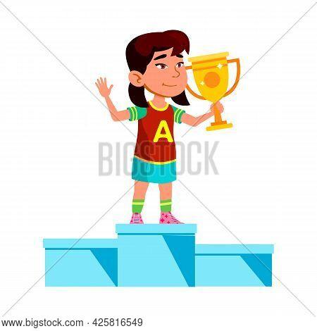 Girl Child Winner On Pedestal With Reward Vector. Asian Preteen Lady Holding Golden Mug Standing On