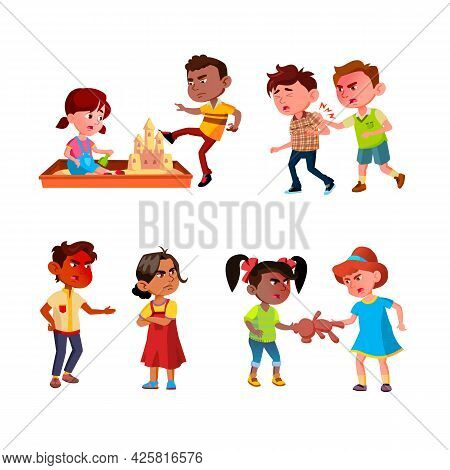 Kids Aggression Fighting And Bullying Set Vector. Brother And Sister Quarrel, Bully Boy Destroying S