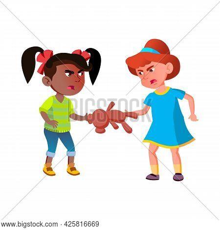 Girls Children Quarreling Over Teddy Bear Vector. Caucasian And African Preteen Schoolgirls Quarrel