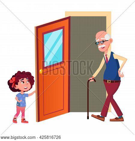 Girl Child Opening Door For Grandfather Vector. Polite Preteen Granddaughter Help Elderly Man And Op