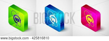 Isometric South Korean Won Coin Icon Isolated On Grey Background. South Korea Currency Business, Pay