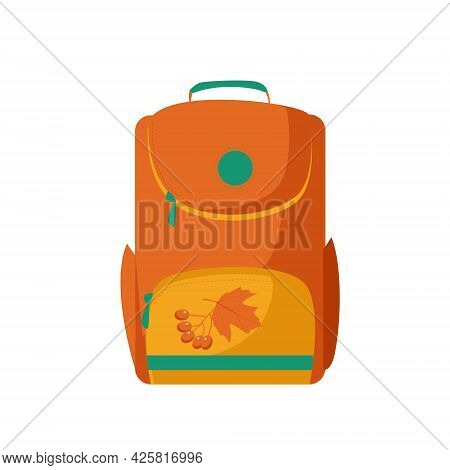 Back To School. One Vector School Orange Backpack In Cartoon Style, Isolated On A White Background