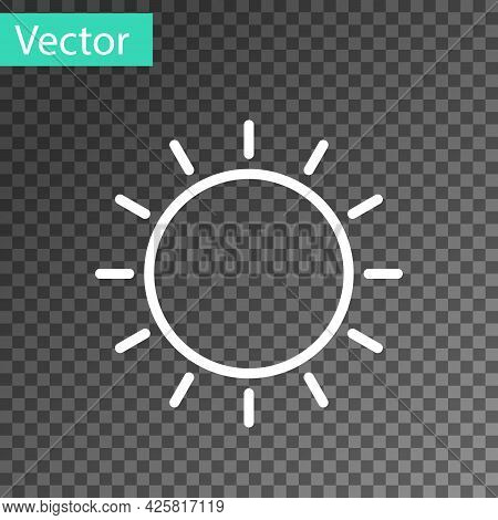 White Line Sun Icon Isolated On Transparent Background. Summer Symbol. Good Sunny Day. Vector Illust