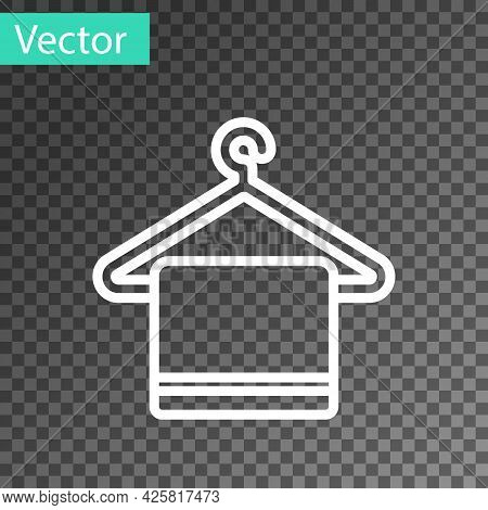 White Line Towel On A Hanger Icon Isolated On Transparent Background. Bathroom Towel Icon. Vector Il