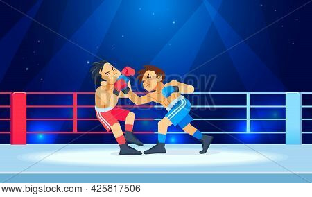 A Young Fighter Or Boxer Loses And Gets Hit In The Face By A Knockdown Or Knockout In The Boxing Rin