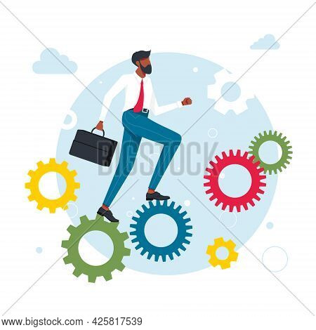 Office Workers, Managers, Successful Businessmen Running Up The Career Gears Mechanism. Business Goa