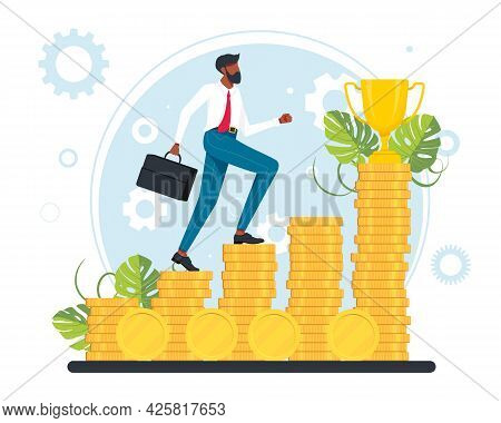 Office Workers, Managers, Successful Businessmen Running Up The Career Stairs Of Money. Business Goa