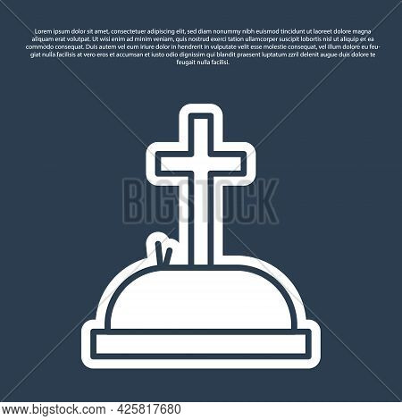 Blue Line Tombstone With Cross Icon Isolated On Blue Background. Grave Icon. Vector Illustration