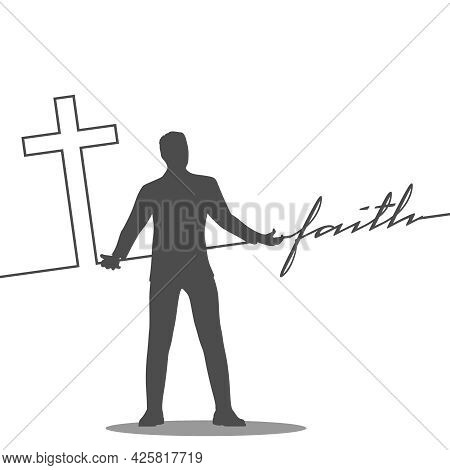 Man Holding Cross And Faith Word Connected With Line