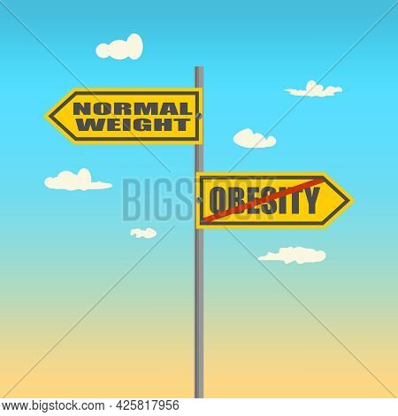 Road Signs With Normal Weight And Obesity Text Pointing In Opposite Directions.