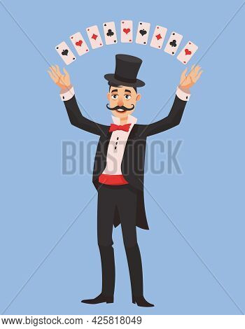 Magician Showing Trick With Cards. Male Person With Long Mustache In Cartoon Style.