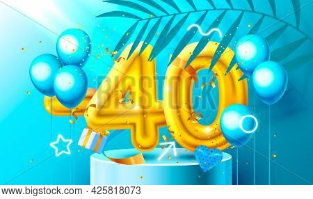 40 Off. Discount Creative Composition. 3d Golden Sale Symbol With Decorative Objects, Heart Shaped B