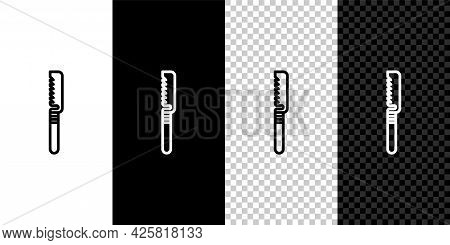 Set Line Medical Saw Icon Isolated On Black And White Background. Surgical Saw Designed For Bone Cut