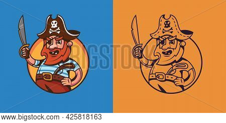One Eyed Ship Captain In Different Styles. Pirate Concept Art.