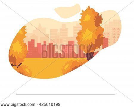 Autumn Background. Autumn Park Trees In Bright Colors, Yellow, Orange, City.
